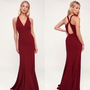 LULU'S Always Be in Love Wine Red Twist-Back Dress
